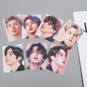 7pcs set KPOP Bangtan Boys Album MAP OF THE SOUL 7 Collection Card Oil Painting Photocard